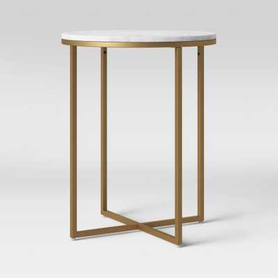 Dale Round White Marble Top End Table with Brass Base - Project 62 , Gold - Target