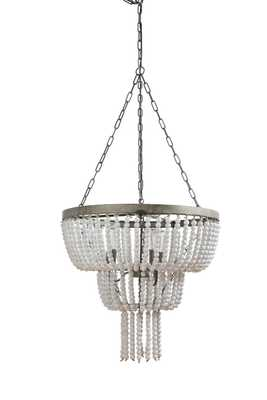 Metal Pendant Light with White Wood Beads - Nomad Home