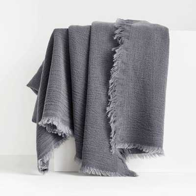 Olind Blue Fringed Throw Blanket - Crate and Barrel