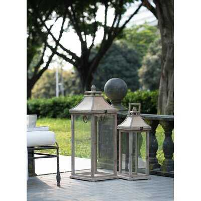 2 Piece Glass and Wood Lantern Set - Birch Lane