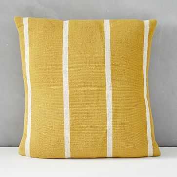 "Outdoor Simple Stripe Pillow, 20""x20"", Dark Horseradish - West Elm"
