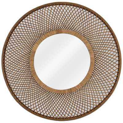 """Hamptons Natural Brown Rattan 36"""" Round Wall Mirror - Style # 79A52 - Lamps Plus"""