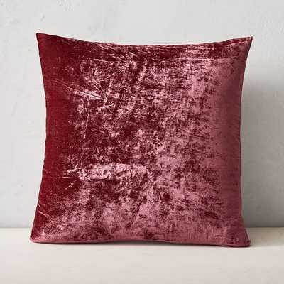"""Lush Velvet Pillow Cover, Set of 2, Washed Ruby, 20""""x20"""" - West Elm"""