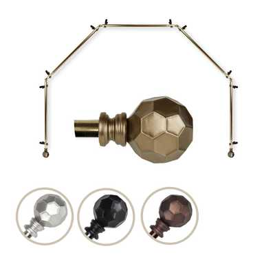 """EMOH 13/16"""" Dia Adjustable 5 Sided Bay Window Curtain Rod 28 to 48"""" (each side) in Antique Brass with Elliana Finials - Home Depot"""