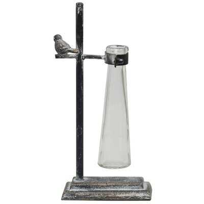 Pell Glass Jar Metal Table Décor with Bird Accent - Wayfair
