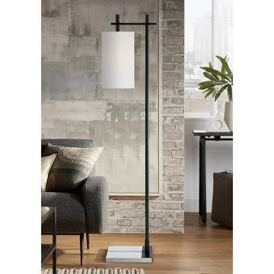 Largo Modern Floor Lamp in Matte Black and White Marble - Style # 88J33 - Lamps Plus