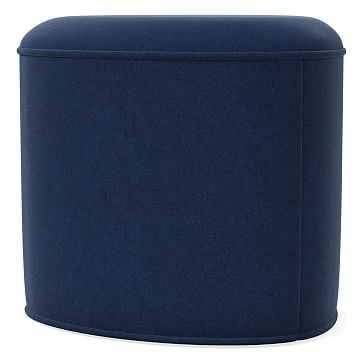 Pebble Ottoman Small, Poly, Performance Velvet, Ink Blue, Concealed Supports - West Elm