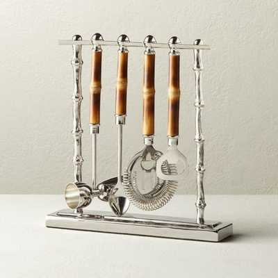 4-Piece Bamboo Bar Tool Set with Stand - CB2