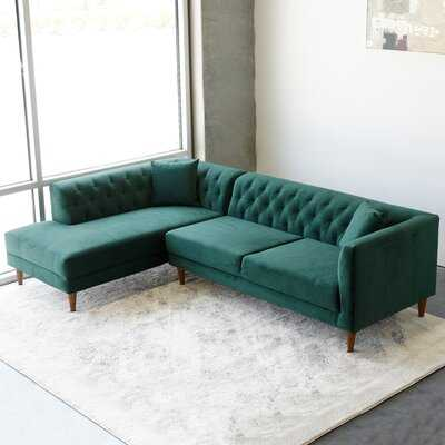 Mid Century Modern Malton Green Sectional Sofa Left Facing - Wayfair
