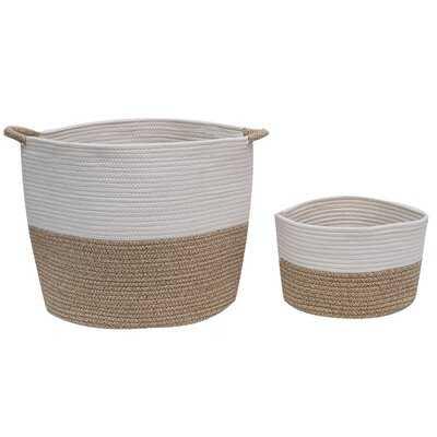 Two - Piece Cotton Rope Basket, Woven Storage Basket, Large Basket, Blanket Basket Living Room, Toy Basket, Pillow Basket, Round Basket, Set Of 2, White And Brown - Wayfair