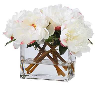 Faux White Peonies Composed Arrangement, Square Glass Vase - 10.5'' - Pottery Barn