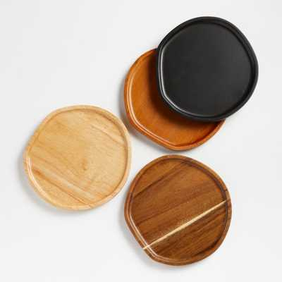 Byhring Mixed Wood Appetizer Plates, Set of 4 - Crate and Barrel