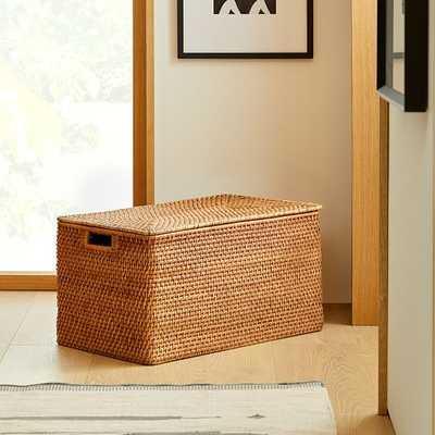 Modern Weave Lidded Storage Basket, Natural - West Elm