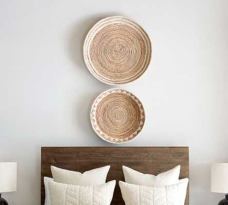 Sunny Handwoven Basket Wall Art, Natural/White - Set of 2 - Pottery Barn
