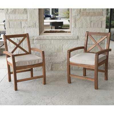 Shaftesbury X-Back Acacia Patio Chairs with Cushions (set of 2) - Birch Lane
