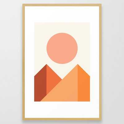 Geometric Mountains 04 Framed Art Print by The Old Art Studio - Conservation Natural - LARGE (Gallery)-26x38 - Society6
