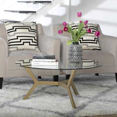 """Archtech Modern 38"""" Round Coffee Table In Gold - Wayfair"""