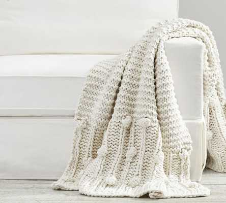 "Edilon Bobble Knit Throw, 50 x 60"", Oatmeal - Pottery Barn"