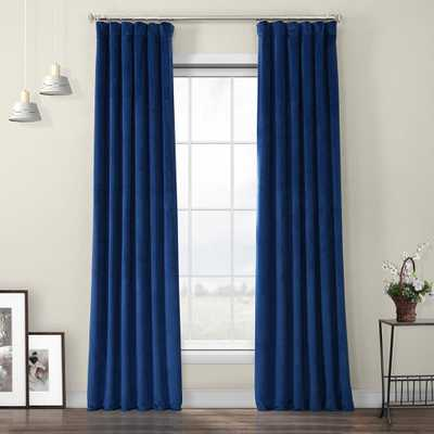 Exclusive Fabrics & Furnishings Pisces Blue Heritage Plush Velvet Polyester Room Darkening Curtain - 50 in. W x 96 in. L - Home Depot