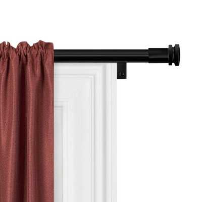 Zenna Home Smart Rods No Measuring Easy Install Adjustable Drapery Window Rod, 48 to 120 in., with Cap Finials in Black - Home Depot