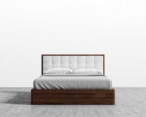 Charlotte Storage Bed - Queen Walnut Veneer Monaco White - Rove Concepts