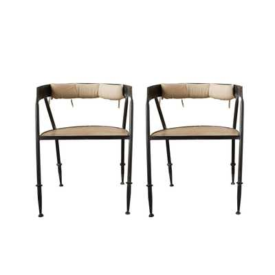Metal Chair with Wood Seat & Cotton Back Cushion with Ties - Nomad Home