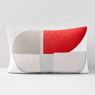 "Corded Quadrant Pillow Cover, 12""x21"", So Red - West Elm"
