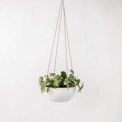 Minimal Hanging Planter Stoneware/Glaze IVory White 8 Inch - West Elm