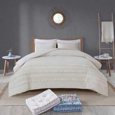 Roselle Full/Queen 3pc Cotton Seersucker Comforter Set Ivory, White - Target