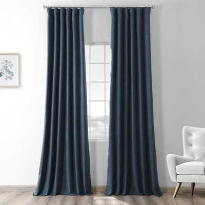Exclusive Fabrics & Furnishings Dark Denim Blue Thermal Room Darkening Heathered Italian Woolen Weave Curtain - 50 in. W x 84 in. L (1 Panel) - Home Depot