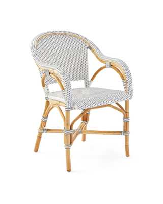 Riviera Armchair- Fog/White - Serena and Lily