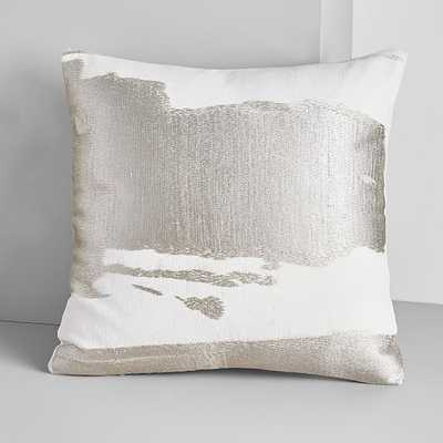 """Ink Abstract Pillow Cover with Down Insert, Platinum, 20""""x20"""" - West Elm"""