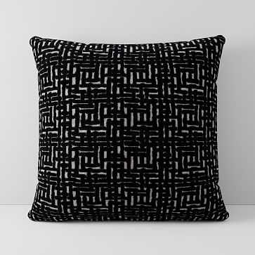 "Allover Crosshatch Jacquard Velvet Pillow Cover, 18""x18"", Black - West Elm"