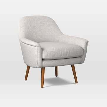 Phoebe Midcentury Chair, Poly, Twill, Wheat, Pecan - West Elm