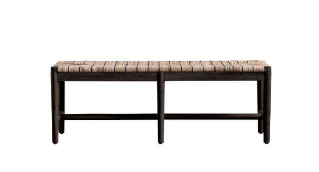 Mango Wood Bench with Brown & Black Woven Rope Seat - Nomad Home