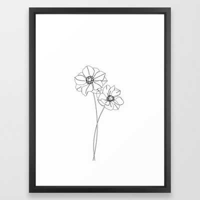 Botanical Illustration Line Drawing - Anemones Framed Art Print by The Colour Study - Vector Black - MEDIUM (Gallery)-20x26 - Society6