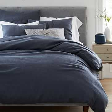 Belgian Flax Linen Duvet, Full/Queen, Iron Blue - West Elm