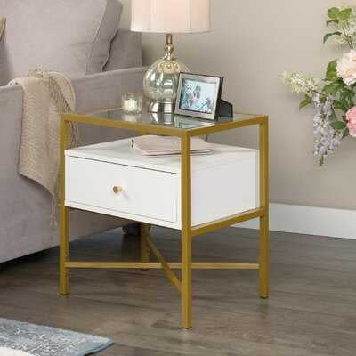 Delong Glass Top End Table with Storage - Wayfair