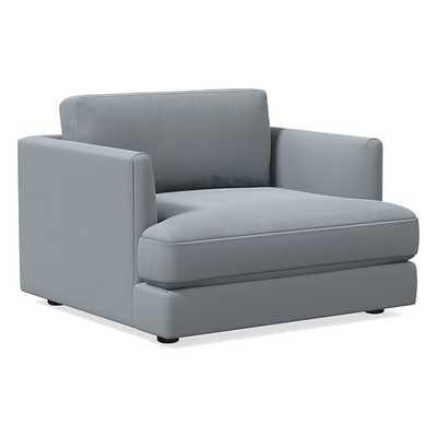 Haven Chair, Trillium, Astor Velvet, Steel Blue, Concealed Supports - West Elm