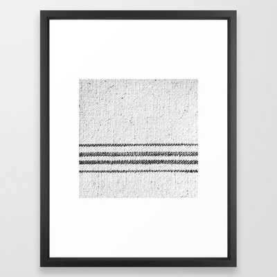 Farmhouse Grain Sack Black Stripes Framed Art Print by Christina Lynn Williams - Vector Black - MEDIUM (Gallery)-20x26 - Society6