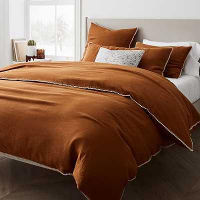 European Linen Pom Pom Duvet, King/Cal. King Duvet Cover, Dark Amber - West Elm