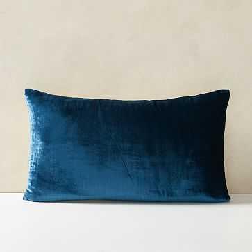 "Lush Velvet Pillow Cover, 12""x21"", Regal Blue - West Elm"
