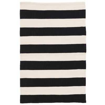 Dash and Albert Rugs Catamaran Stripe Black/Off-White Indoor/Outdoor Area Rug Rug Size: Rectangle 3' x 5' - Perigold