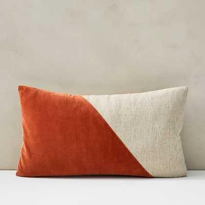 """Cotton Linen + Velvet Lumbar Pillow Cover with Down Insert, Copper, 12""""x21"""" - West Elm"""