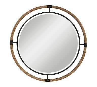 "Starrett Round Mirror, Natural/Black, 1.4"" X 36.3"" X 36.3"" - Pottery Barn"
