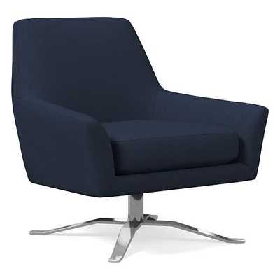 Lucas Swivel Base Chair, Poly, Twill, Regal Blue, Polished Nickel - West Elm