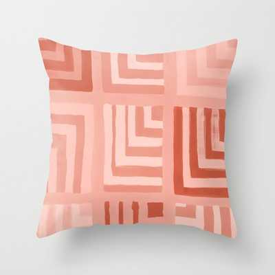 """Painted Color Block Squares In Peach Couch Throw Pillow by Becky Bailey - Cover (18"""" x 18"""") with pillow insert - Indoor Pillow - Society6"""