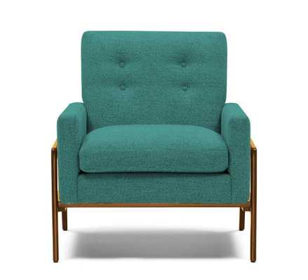 Green Clyde Mid Century Modern Chair - Essence Aqua - Mocha - Joybird