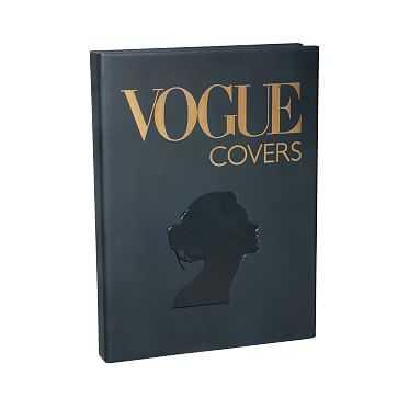 Vogue Covers Book, Italian Matte Metallic Finish Leather, Multi - West Elm