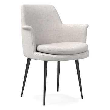 Finley Wing Dining Chair, Performance Coastal Linen, Stone White, Gunmetal - West Elm